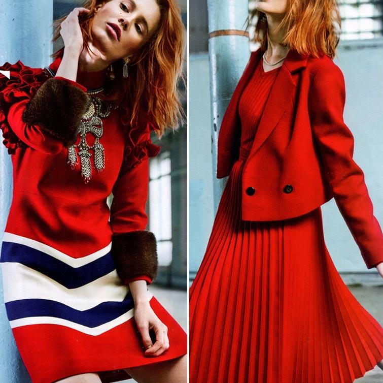 Красные платья, костюмы и юбки